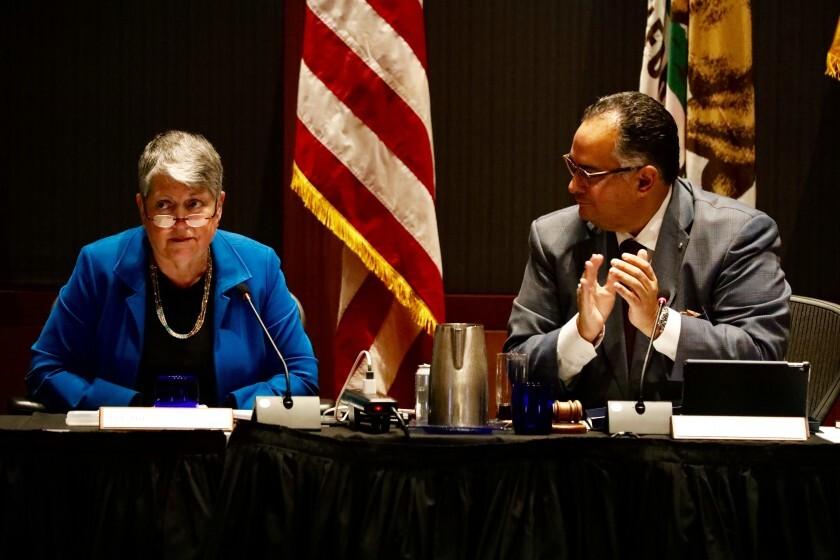 University of California President Janet Napolitano and Board of Regents Chair John Perez