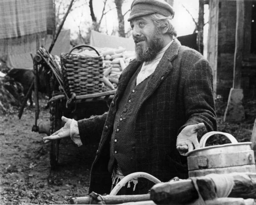 """Israeli actor Topol as Tevye in the 1971 movie musical """"Fiddler on the Roof,"""" directed by Norman Jewison."""