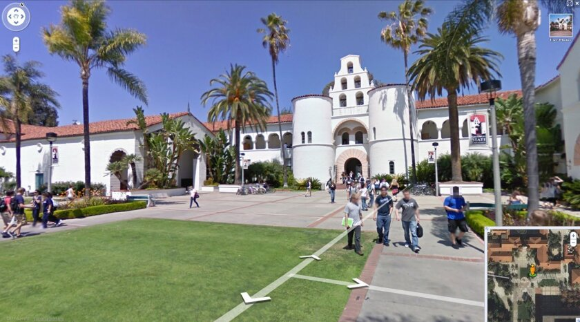 San Diego State University's Hepner Hall is seen in a screen grab from Google Earth's Street View of the university. The program provides a look around the campus. (Google Maps 2009)