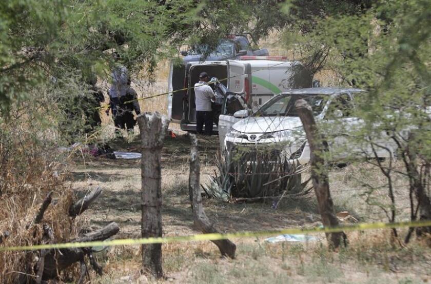 Peritos de los servicios médicos forenses levantan los cuerpos de personas que murieron hoy, martes 5 de junio de 2018, durante un enfrentamiento con las fuerzas federales en la localidad de Encarnación de Diaz, en el estado de Jalisco (México). EFE