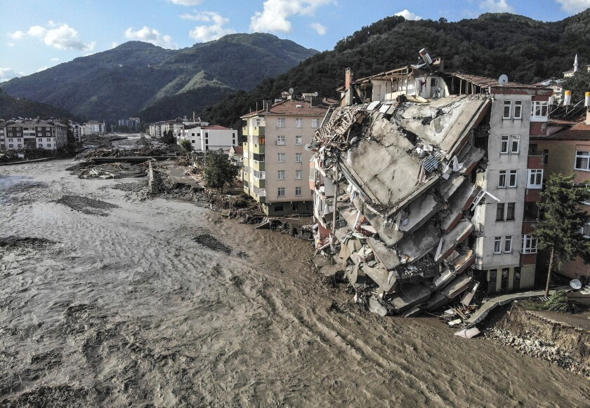 An aerial photo shows destroyed buildings after floods and mudslides in the Turkish town of Bozkurt.
