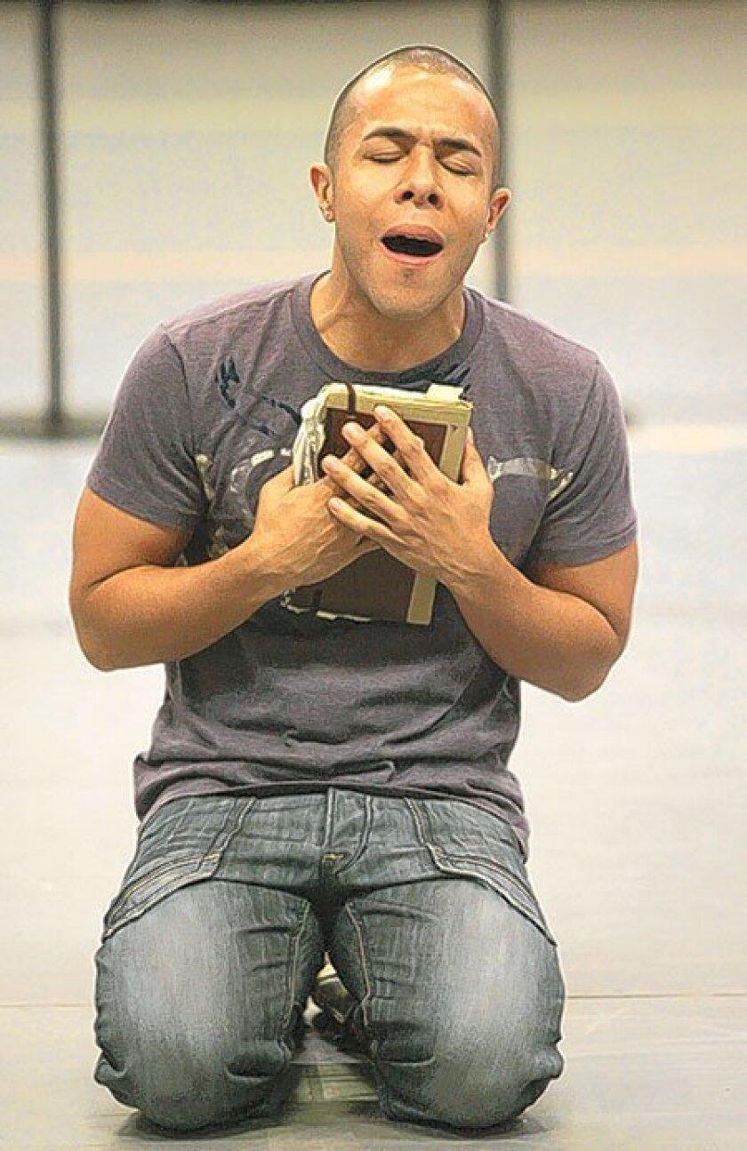 "Cedric Leiba Jr. plays the troubled Juan in ""Kingdom,"" a new hip-hop drama from the Old Globe Theatre. (John Gastaldo / Union-Tribune)"