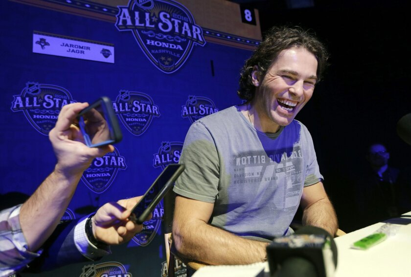 Florida Panthers forward Jaromir Jagr, of the Czech Republic, laughs as he talks with reporters at the NHL hockey All-Star game media day Friday, Jan. 29, 2016, in Nashville, Tenn. The game is scheduled to be played Sunday, Jan. 31. (AP Photo/Mark Humphrey)