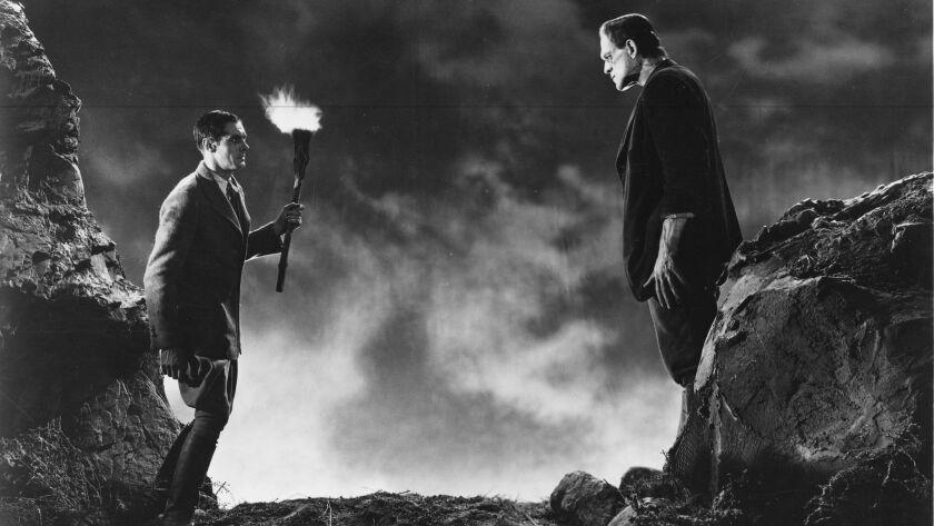 """Colin Clive and Boris Karloff in """"Bride of Frankenstein."""""""