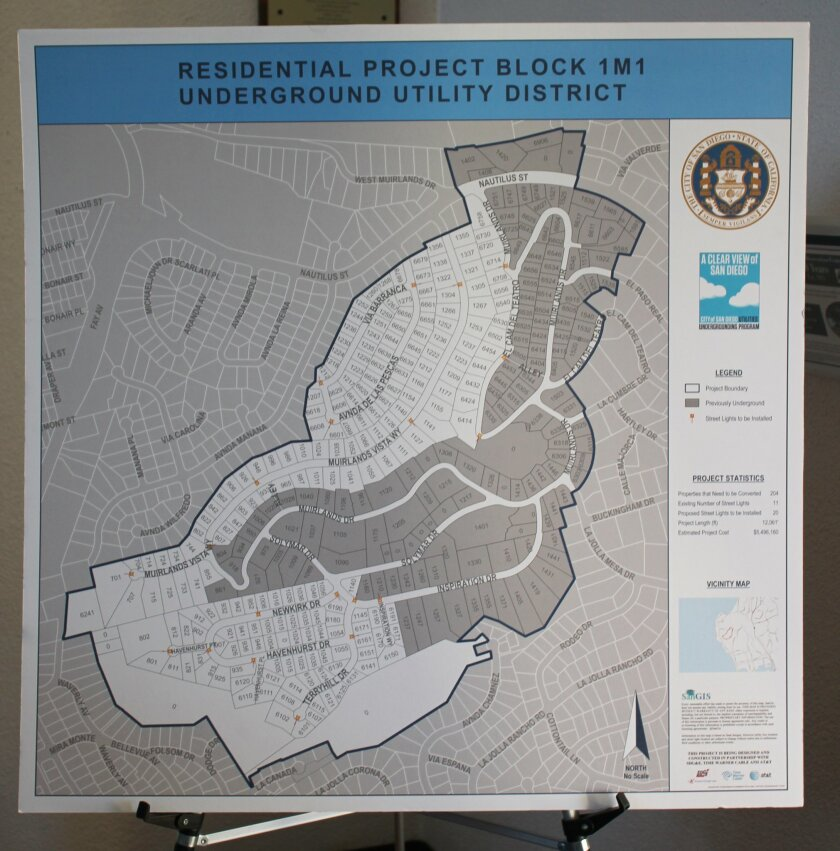 The white portion of this map shows the remaining area of Muirlands where utility lines will be moved underground, beginning mid-2017.