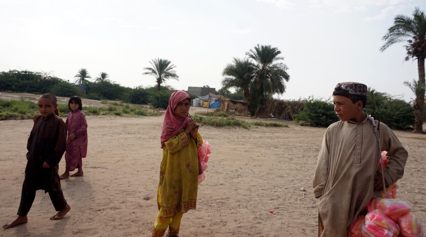 Children at a camp for those displaced by the North Waziristan military operation, in Bannu.