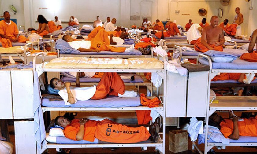 An undated photo from the California corrections department shows inmates crowded at the state prison in Lancaster.