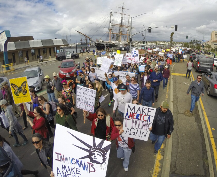 Thousands supporters marched along Harbor Drive during March in Solidarity with Immigrants, San Diego, which began at the San Diego County Administration Center and ended at Civic Center Plaza next