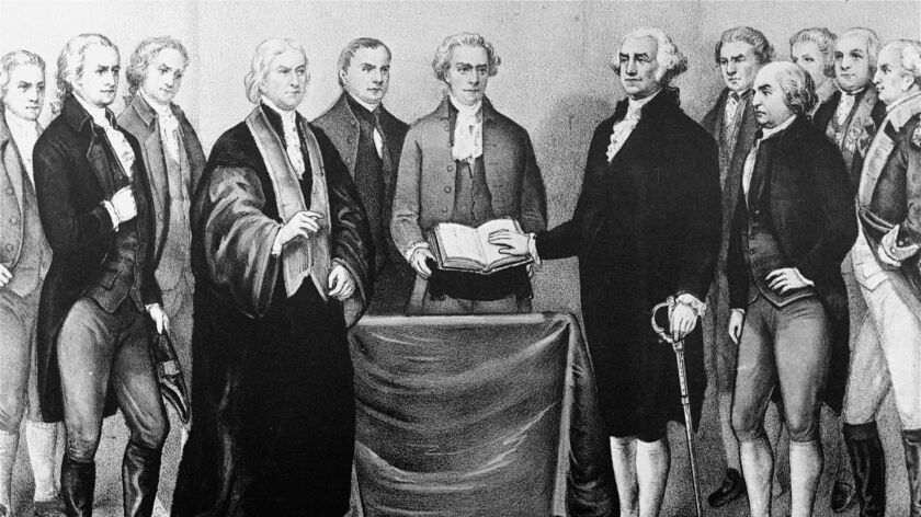 A reproduction of the scene at Old City Hall in New York on April 30, 1789 as George Washington took oath of office. In the earliest days of the Republic, Founding Fathers like John Adams, third from right, demanded only property owners could vote.