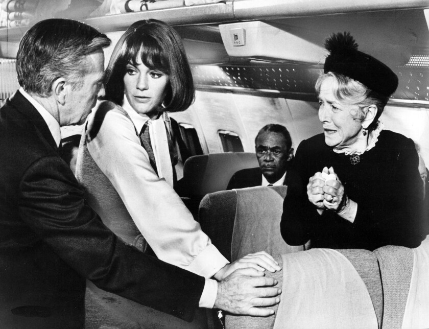 """Whit Bissell, Jacqueline Bisset and Helen Hayes in """"Airport."""""""