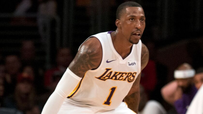 Los Angeles Lakers guard Kentavious Caldwell-Pope (1) during the second half of an NBA basketball ga