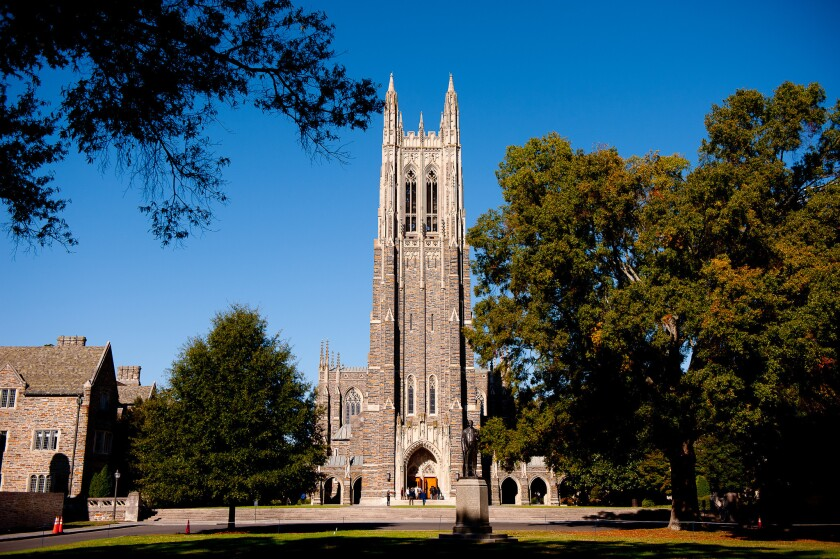 The Duke University Chapel on the campus in Durham, N.C.