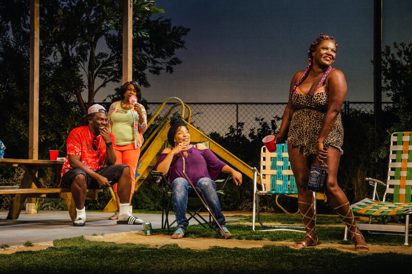 "From left, Omar J. Dorsey, Yvette Cason, Kimberly Hébert Gregory and Heather Alicia Simms in ""Barbecue"" at the Geffen Playhouse."