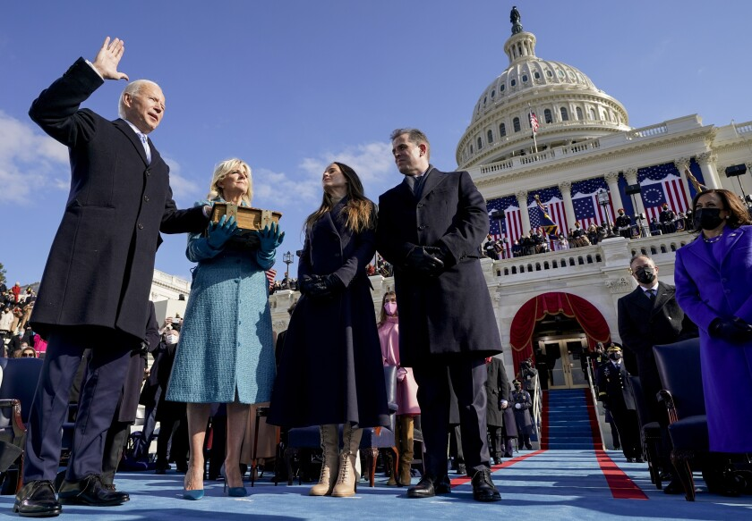 Joe Biden is sworn in as the 46th president of the United States by Chief Justice John Roberts.