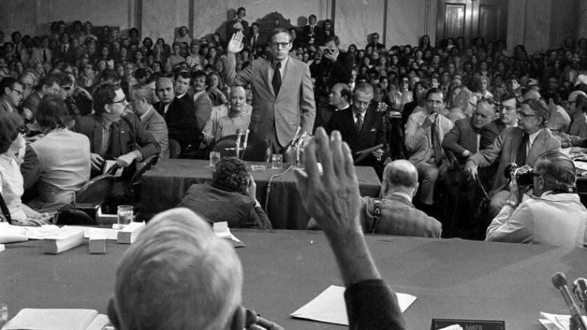 John Dean, who served as counsel to President Nixon, being sworn in at Senate Watergate hearings on June 25, 1973.