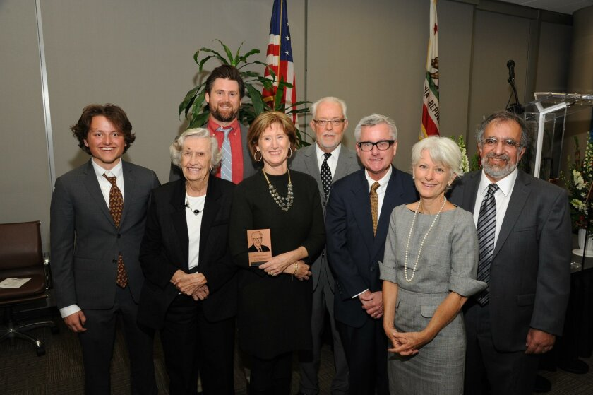 Honoring the late Judge Douglas R. Woodworth: Jack Woodworth, Ann Wallace, James Halliday, Julie Woodworth Halliday, John Wertz, Martha Woodworth and Alec Harootunian