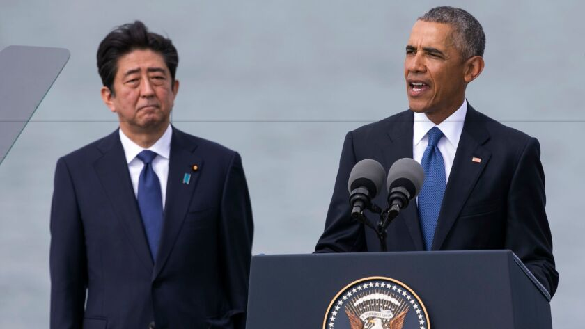 President Obama and Japanese Prime Minister Shinzo Abe at Pearl Harbor in Hawaii on Tuesday.