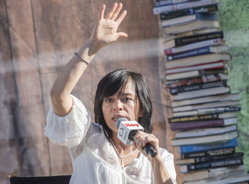 "Journalist and author Anabel Hernández talks about ""A Massacre in Mexico: The True Story Behind the Missing Forty-Three Students"" at the Los Angeles Times Festival of Books at USC."