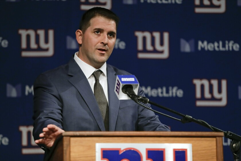 FILE - In this Jan. 9, 2020, file photo, New York Giants coach Joe Judge speaks during a news conference in East Rutherford, N.J. Since taking over as the New York Giants coach in January, Joe Judge has made the team and its welfare his main focus. His approach to being the head guy for the first time was to be prepared, demanding, disciplined and ready to adjust. (AP Photo/Frank Franklin II, File)