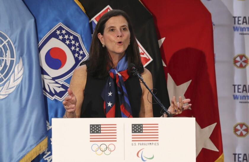 U.S. Olympic Committee chief marketing officer Lisa Baird speaks in 2017.