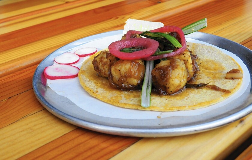 Black pepper tofu tacos from Trejo's Tacos