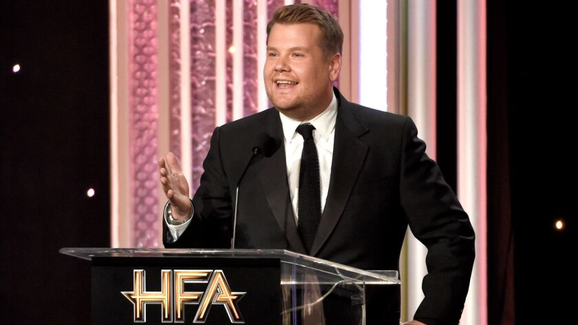 Hollywood Film Awards: Host James Corden pokes fun at the event's insignificance at the ceremony in early November.