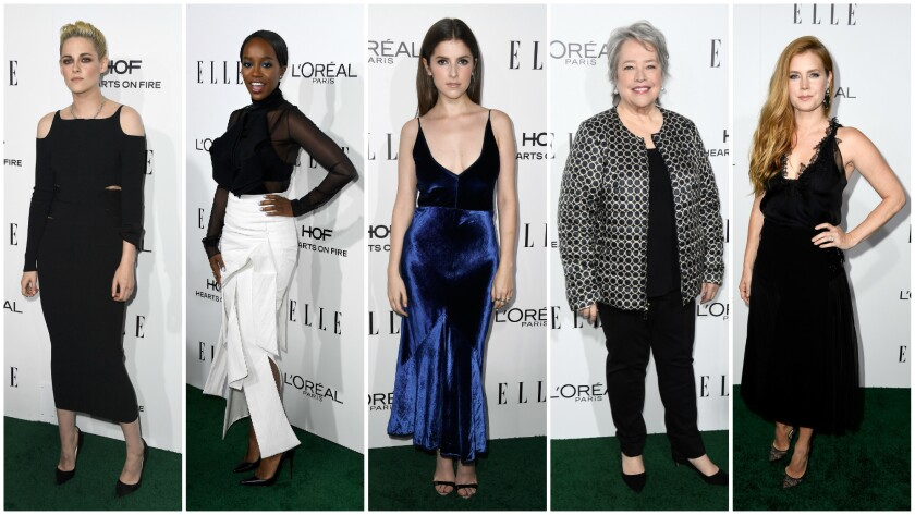 Honorees included Kristen Stewart, left, Aja Naomi King, Anna Kendrick, Kathy Bates and Amy Adams.