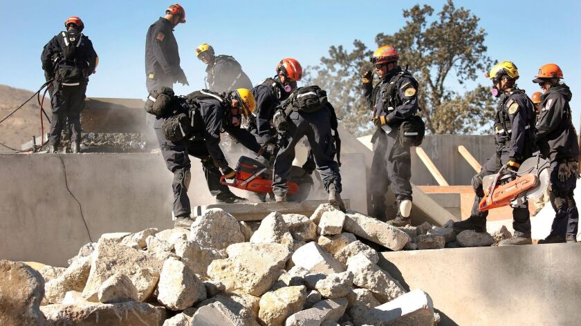 LOS ANGELES, CA - NOVEMBER 17, 2016 - Los Angeles County Fire Urban Search and Rescue team members w