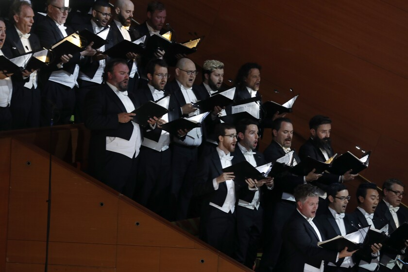 LOS ANGELES, CALIF. - SEP. 28, 2018. Members of the Los Angeles Master Chroale perform with the L.