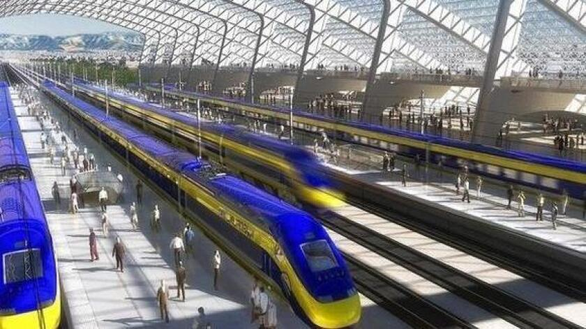 "This artist's rendering portrays the high-speed rail trains and a station. A funding agreement between the California High-Speed Rail Authority and the city of Burbank will pay for much of a $1.2-million planning process for what high-speed rail officials are calling a ""world-class multimodal transportation hub,"" including a proposed bullet train station adjacent to Bob Hope Airport."