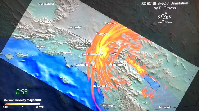 PASADENA, CA -- OCTOBER 17, 2018: An earthquake simulation shows shockwaves radiating outwards. Offi