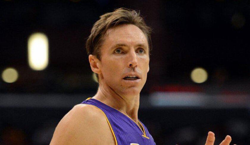 Lakers guard Steve Nash looks for a pass during a 97-91 loss to the Clippers in the exhibition season.