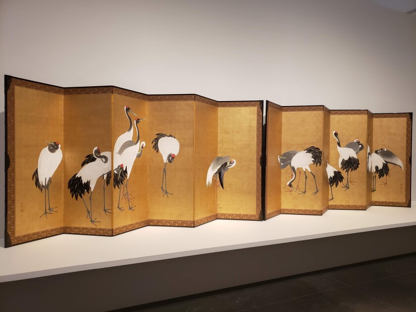 "Maruyama Ōkyo, ""Cranes,"" 1772, pair of six-panel screens in ink, color and gold leaf on paper"