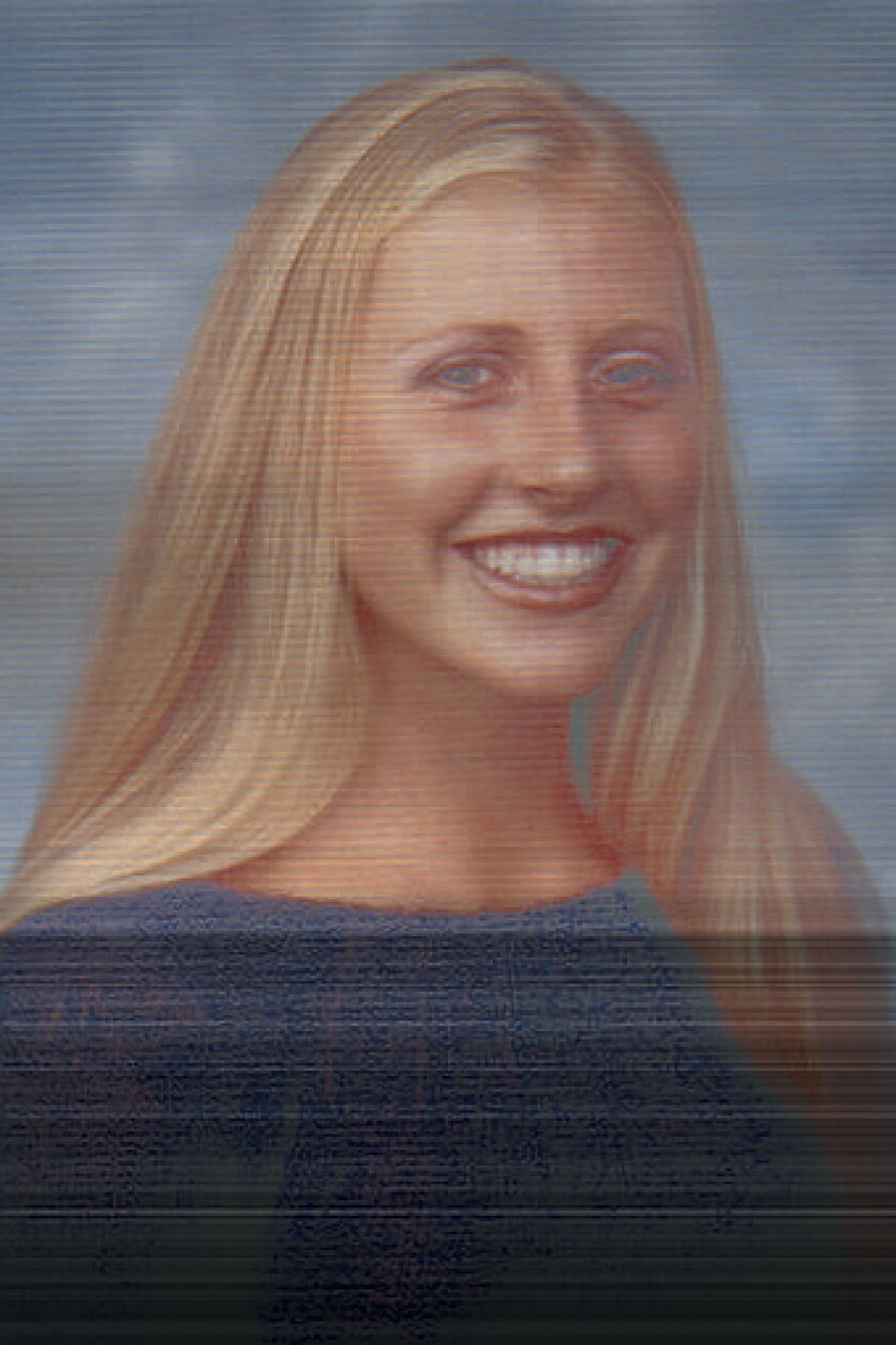 Julia Allen is shown as Daily Pilot athlete of the week in May 2002.
