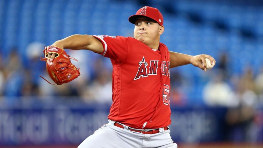 The Angels' Jose Suarez delivers a pitch against the Blue Jays during a game earlier this season in Toronto.