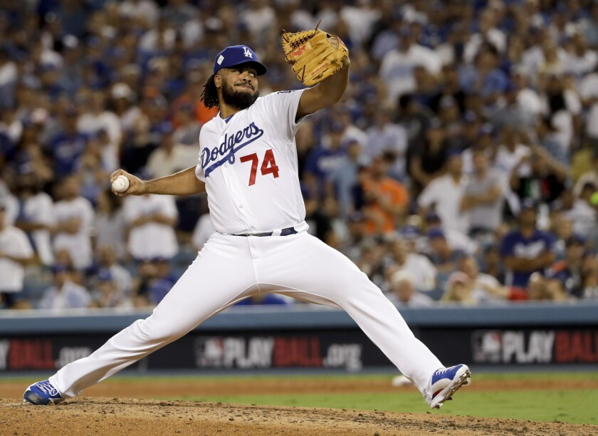 Dodgers closer Kenley Jansen delivers a pitch against the Houston Astros in the top of the eighth inning of Game 2 of the World Series at Dodger Stadium in 2017.