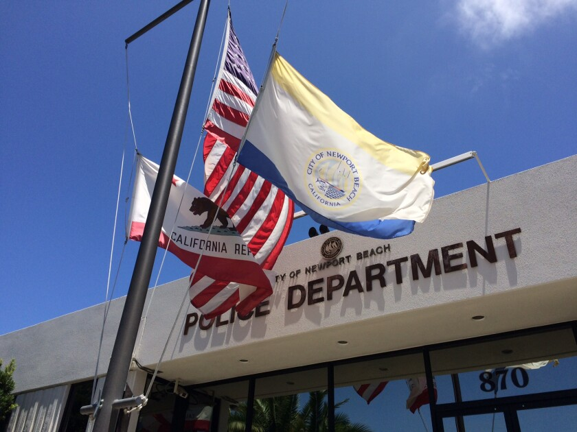The front entrance of the Newport Police Department building in Newport Beach.