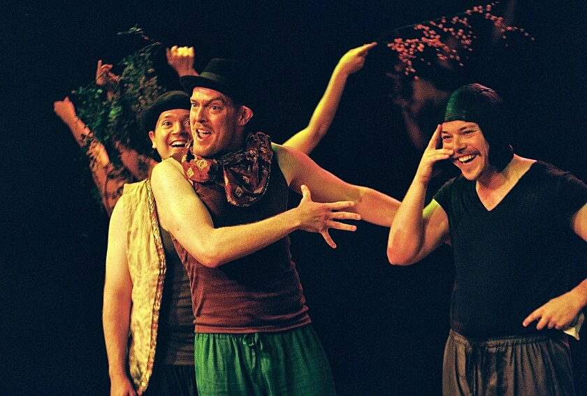 "Adam Ferguson, center, Bob Turton, right, and Will Thomas McFadden in the Tim Robbins-directed ""A Midsummer Night's Dream"" from the Actors' Gang."
