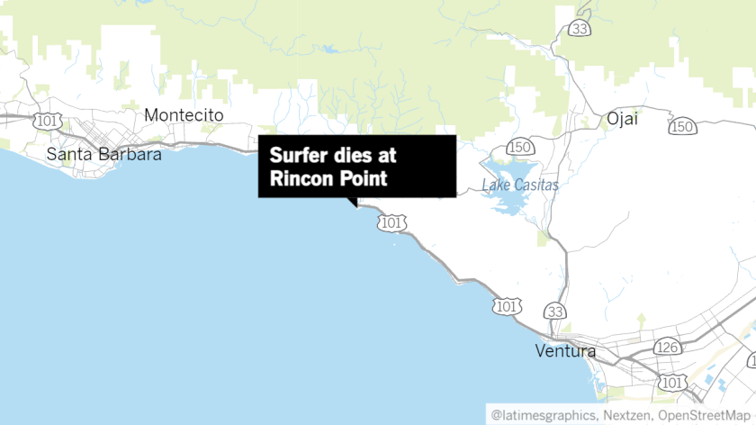 Map of the Ventura County coast with a label pointing to Rincon Point
