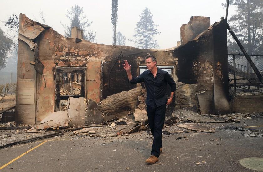 Gov. Gavin Newsom at burned school Oct. 1, 2020.