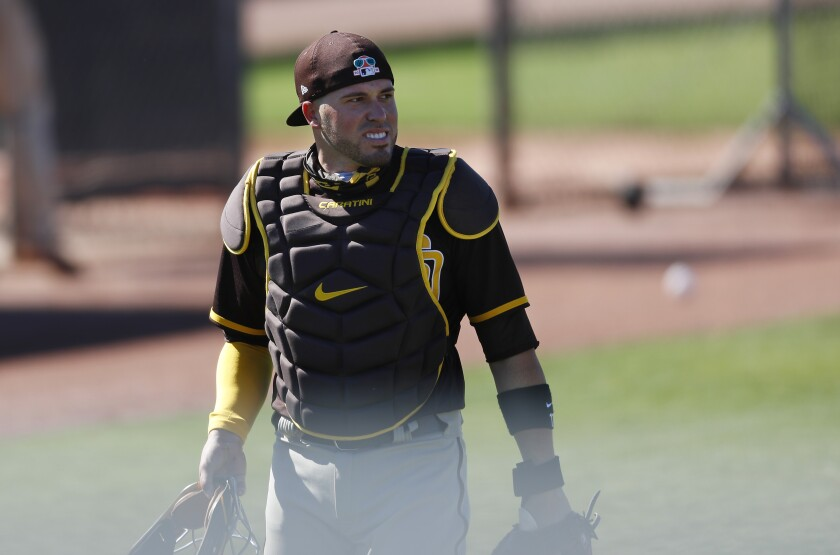 Padres catcher Victor Caratini during a spring training workout.