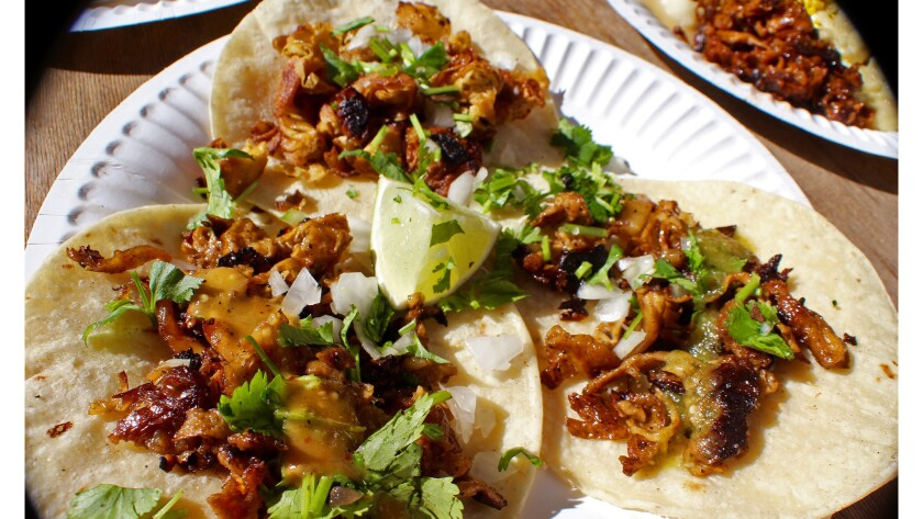 Taqueria La Venganza sells tacos with tripe, carnitas and other familiar fillings — all of which are actually made from a soy or a wheat base.