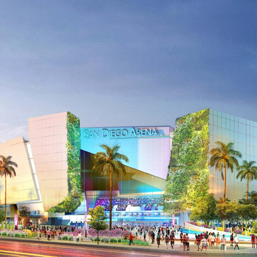 A rendering depicts a new arena that could be part of redevelopment plans for San Diego's Midway District.
