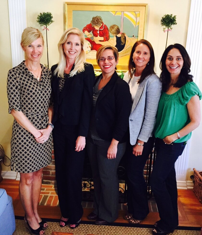 St. Germaine members Betsy Witt and Nicole Hall-Brown with San Diego Police Foundation grants manager Kristen Amicone, St. Germaine president Wendy Neri and philanthropy chair Coco Bancroft