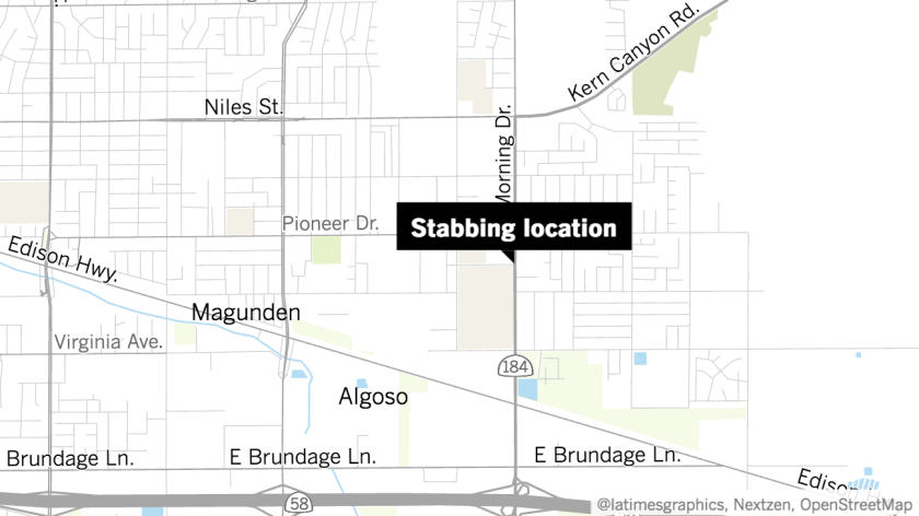 Approximate location of a stabbing that left one person dead and three others injured Tuesday.