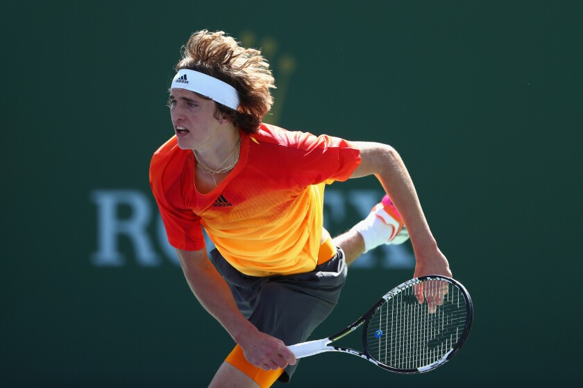 Alexander Zverev, showing poise at 18, tops Grigor Dimitrov at Indian Wells