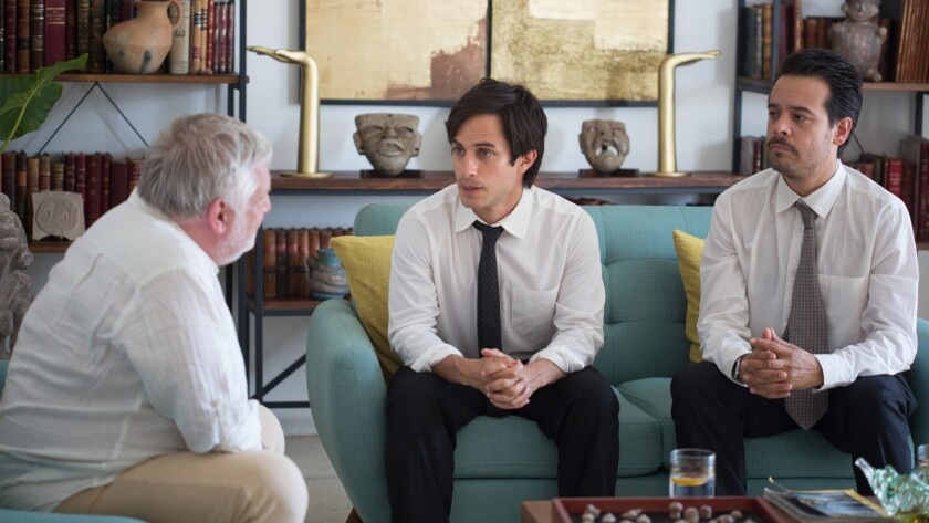 "L to R - Simon Russell Beale, Gael Garcia bernal, Leonardo Ortizgris in ""Museo"" movie."