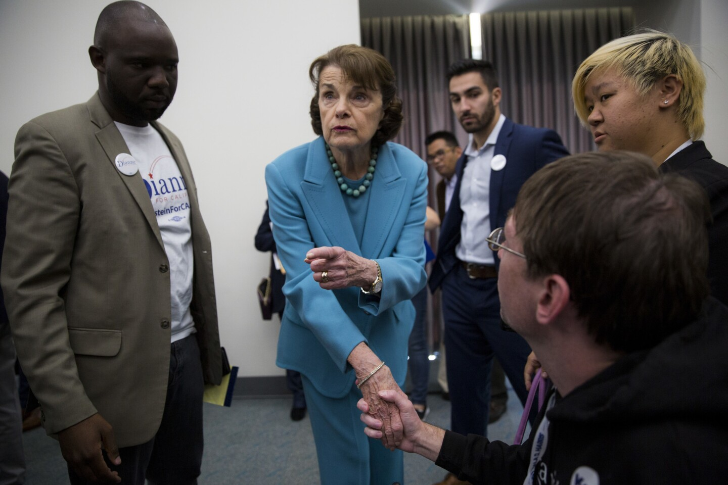 Senator Dianne Feinstein greets people after speaking to the Environmental Caucus at the Democrats State Convention.