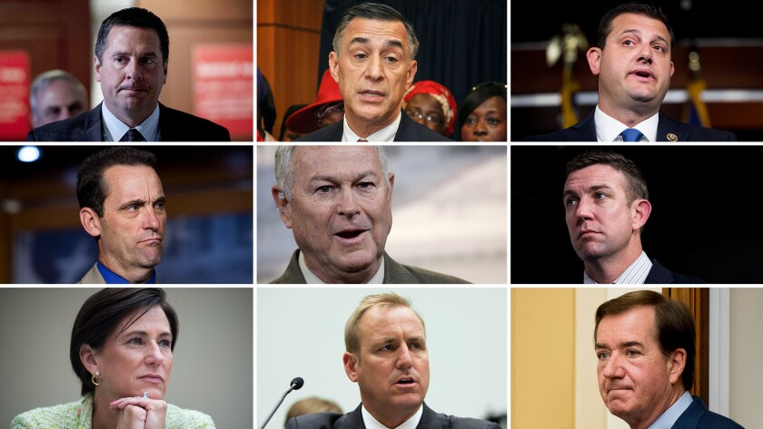 Top row from left: Reps. Devin Nunes, Darrell Issa and David Valadao. Middle row from left: Reps. Steve Knight, Dana Rohrabacher and Duncan Hunter. Bottom row from left: Reps. Mimi Walters, Jeff Denham and Ed Royce.