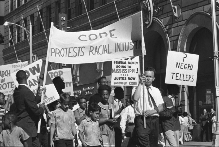 1964 - Congress of Racial Equality (CORE) members protested the California Real Estate Association's meeting.